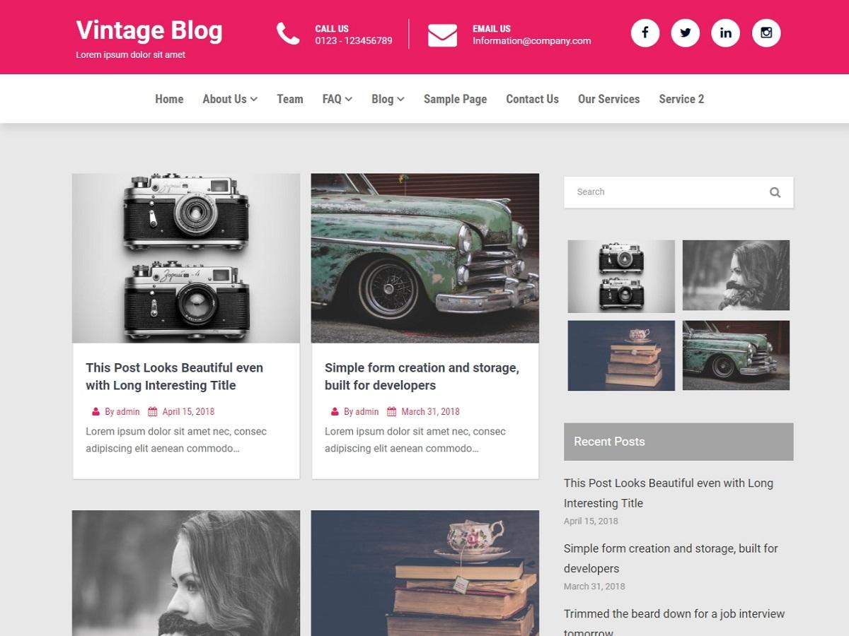 vintage blog theme